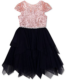 Rare Editions Toddler Girls Illusion-Neck Sequin Dress
