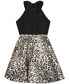 Rare Editions Big Girls Animal-Print Halter Dress