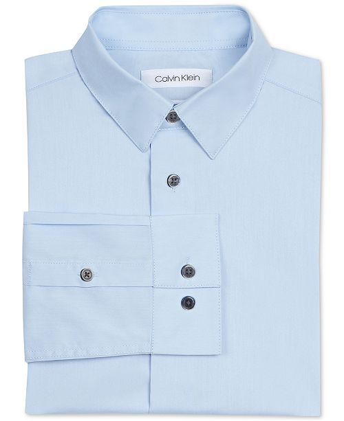 Calvin Klein Big Boys Slim Fit Solid Stretch Poplin Shirt