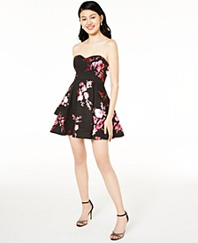 Juniors' Strapless Foil-Print Dress