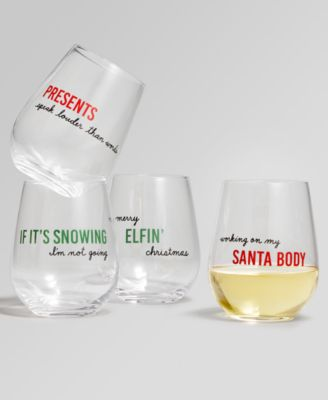 Holiday Sayings Sentiments Stemless Wine Glasses, Set of 4, Created for Macy's