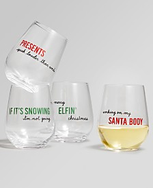 The Cellar Holiday Sayings Sentiments Stemless Wine Glasses, Set of 4, Created for Macy's