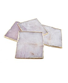 White Agate Coasters, Set of 4