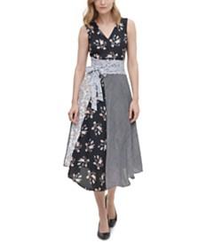 Calvin Klein Mixed-Print Belted Dress