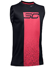 Under Armour Big Boys Stephen Curry Graphic-Print UA Tech™ Sleeveless T-Shirt
