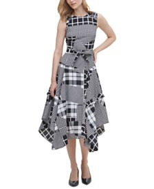 Calvin Klein Asymmetrical Mixed Print Dress