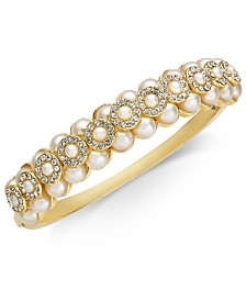 Charter Club Gold-Tone Imitation Pearl & Crystal Bangle Bracelet, Created for Macy's