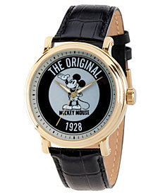 EwatchFactory Men's Disney Mickey Mouse Black Strap Watch 44mm