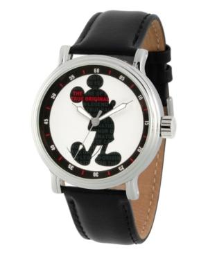 Men's Disney Mickey Mouse Black Strap Watch 44mm