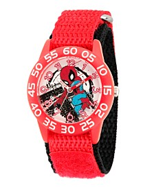 EwatchFactory Boy's Marvel's Super Hero Adventure Spider-Man Red Plastic Time Teacher Strap Watch 32mm