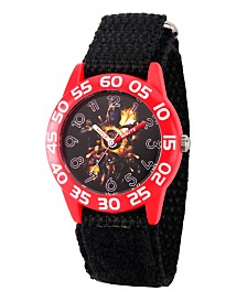 EwatchFactory Boy's Marvel Avengers Endgame Thanos, Hulk, Ant-Man, Iron Man, Thor Black Plastic Time Teacher Strap Watch 32mm
