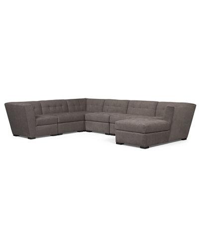 Roxanne Fabric 6 Piece Modular Sectional Sofa W Chaise