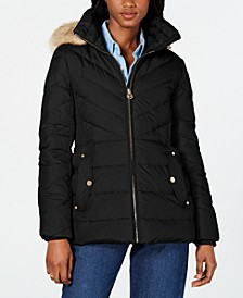 Petite Hooded Faux-Fur-Trim Puffer Coat, Created for Macy's