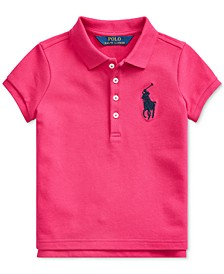 Little Girls Stretch Mesh Polo Shirt