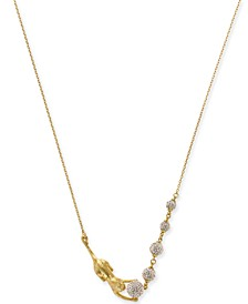 "Gold-Tone Pavé Ball & Leopard 17"" Collar Necklace"