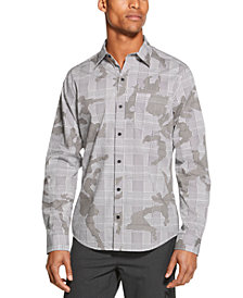 DKNY Men's Prince of Wales Stretch Camouflage Plaid Shirt
