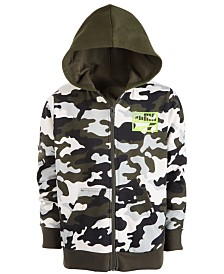 Puma Big Boys Rebel Pack Camo-Print Zip-Up Hoodie