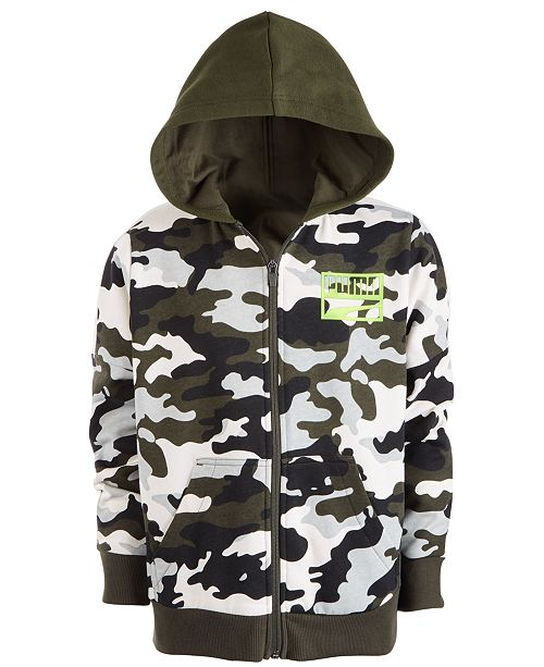 Puma Kids Boys Camo Full Zip Hoody Junior Hoodie Hooded Top
