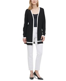 Calvin Klein Tipped Open Cardigan