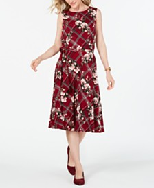Charter Club Belted Mixed-Print Dress, Created for Macy's