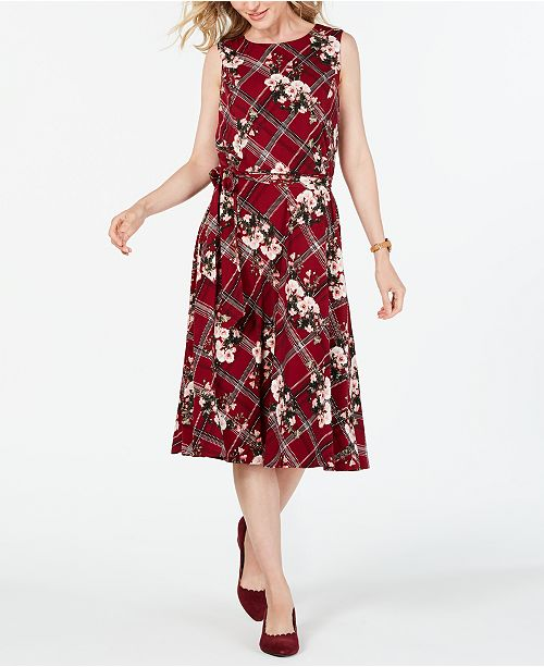 Charter Club Petite Sleeveless Mixed-Print Dress, Created for Macy's