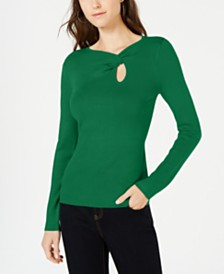 I.N.C. Twist-Front Long-Sleeve Sweater, Created for Macy's