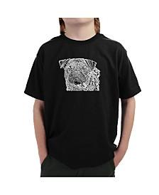 LA Pop Art Big Boy's Word Art T-Shirt - Pug Face