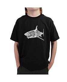 Big Boy's Word Art T-Shirt - Species of Shark