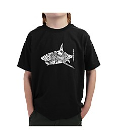 LA Pop Art Big Boy's Word Art T-Shirt - Species of Shark