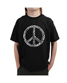 LA Pop Art Big Boy's Word Art T-Shirt - The Word Peace In 77 Languages