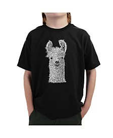 LA Pop Art Big Boy's Word Art T-Shirt - Llama