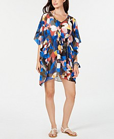 Printed Drawstring-Waist Cover-Up Poncho