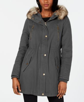 ex Mini Club Boys Toddlers Grey Jacket Parka Coat fleece lined fur trim hood