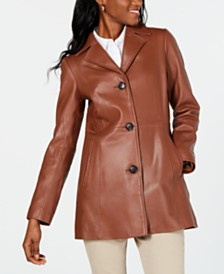 Anne Klein Button-Down Leather Jacket