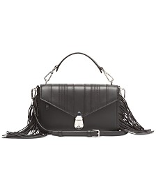 Calvin Klein Fringe Lock Leather Crossbody