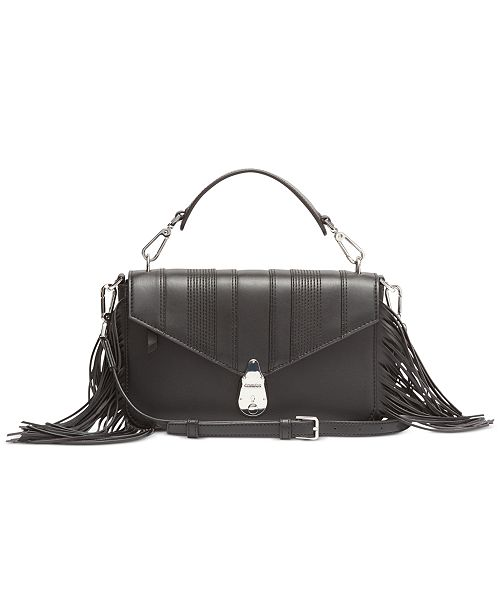 Calvin Klein Fringe Lock Leather Crossbody