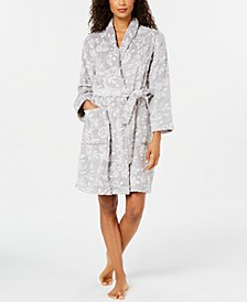 Plush Floral Short Wrap Robe, Created for Macy's