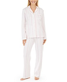 Soft Brushed Cotton Button-Front Top & Bottoms Pajamas Set, Created For Macy's