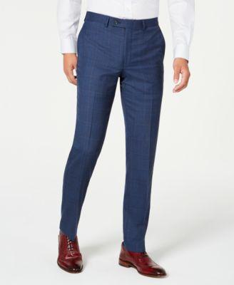 Men's Modern-Fit Stretch Blue/Red Plaid Suit Separate Pants