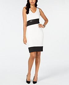 Faux-Leather-Trim Sheath Dress, Created for Macy's