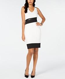 Thalia Sodi Faux-Leather-Trim Sheath Dress, Created for Macy's