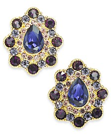 Gold-Tone Crystal & Stone Button Earrings, Created for Macy's