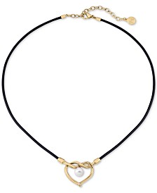 "Majorica Gold-Tone Stainless Steel & Imitation Pearl Heart Leather Cord Pendant Necklace, 15"" + 3"" extender"