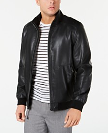 Calvin Klein Men's Faux Leather Bomber Jacket