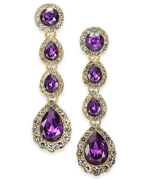 Charter Club Gold-Tone Crystal & Stone Linear Drop Earrings, Created for Macy's