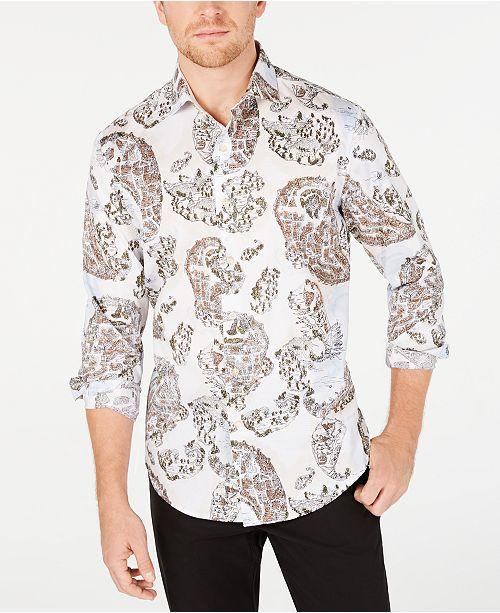 Tasso Elba Men's Stretch Chinino Large Paisley Print Shirt