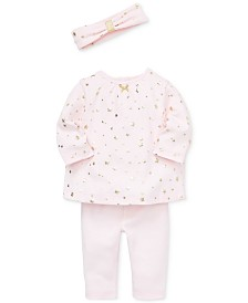 Little Me Baby Girls 3-Pc. Cotton Star-Print Headband, Top & Pants Set