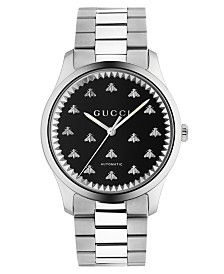 Gucci Men's Swiss Automatic G-Timeless Stainless Steel Bracelet Watch 42mm