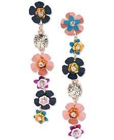 Betsey Johnson Rose Gold-Tone Crystal Flower Mismatch Linear Drop Earrings