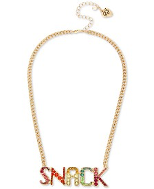"Betsey Johnson Gold-Tone Multicolor Crystal ""Snack"" Pendant Necklace, 16"" + 3"" extender"